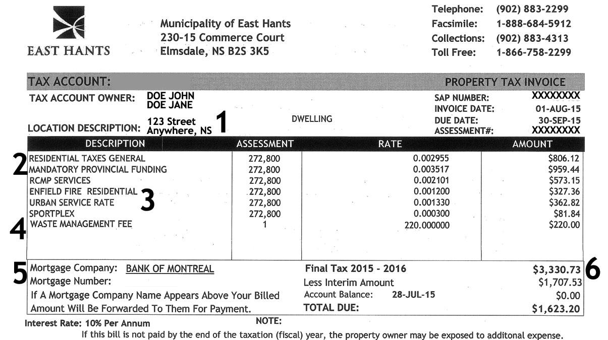 Understanding your East Hants tax bill